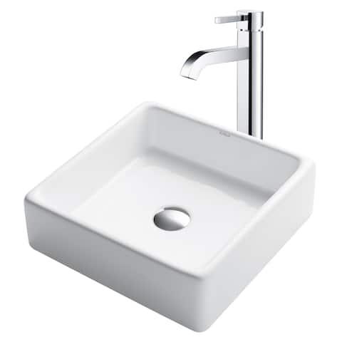 Kraus 3-in-1 Bathroom Set C-KCV-120-1007 White Ceramic Square Vessel Sink, Ramus Single Hole Faucet, Pop Up Drain