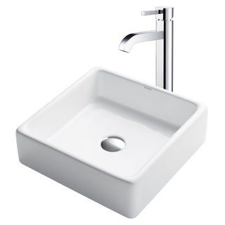 Kraus 3-in-1 Bathroom Set C-KCV-120-1007 White Ceramic Square Vessel Sink, Ramus Single Hole Faucet, Pop Up Drain