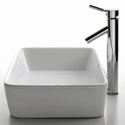 KRAUS Rectangular Ceramic Vessel Sink in White with Sheven Faucet in Chrome - Thumbnail 1