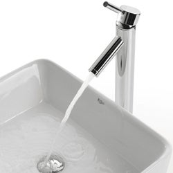 KRAUS Rectangular Ceramic Vessel Sink in White with Sheven Faucet in Chrome - Thumbnail 2