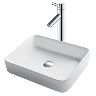 Kraus 3-in-1 Bathroom Set C-KCV-121-1002 White Ceramic Rectangular Vessel Sink, Sheven Single Hole Faucet, Pop Up Drain