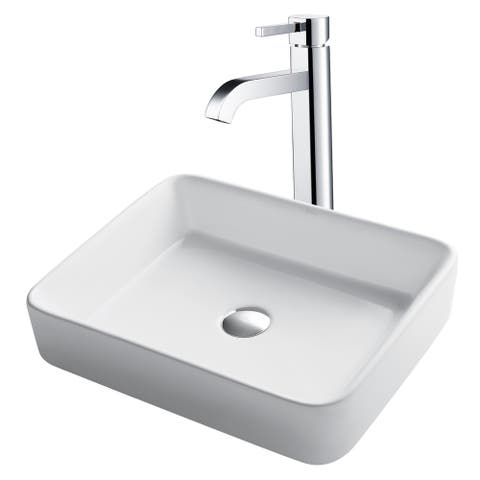 Kraus 3-in-1 Bathroom Set C-KCV-121-1007 White Ceramic Rectangular Vessel Sink, Ramus Single Hole Faucet, Pop Up Drain