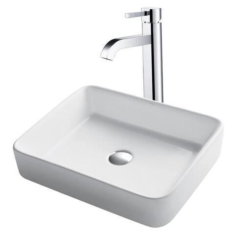 KRAUS Rectangular Ceramic Vessel Sink in White with Ramus Faucet in Satin Nickel
