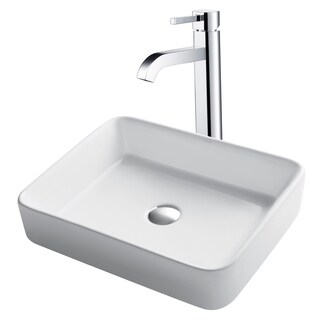 Kraus 3-in-1 Bathroom Set C-KCV-121-1007 White Ceramic Rectangular Vessel Sink, Ramus Single Hole Faucet, Pop Up Drain