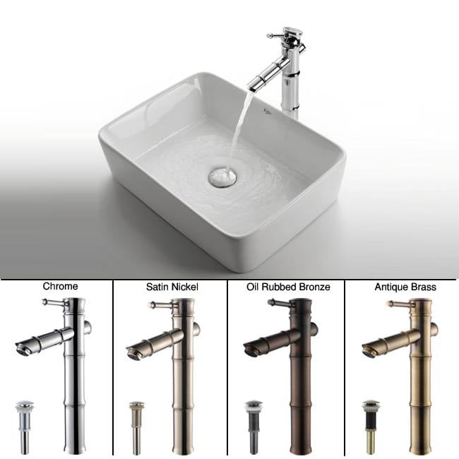 Kraus Rectangular Ceramic Sink and Bamboo-style Faucet