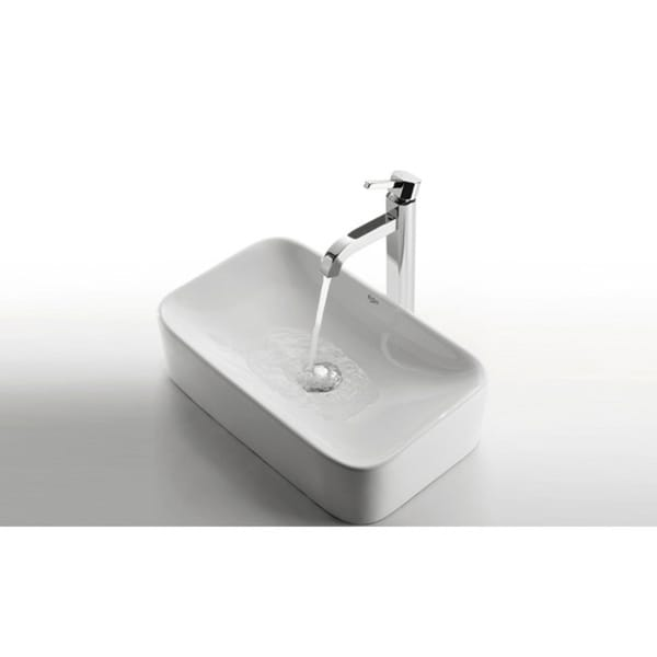 KRAUS Soft Rectangular Ceramic Vessel Sink In White With Ramus Faucet