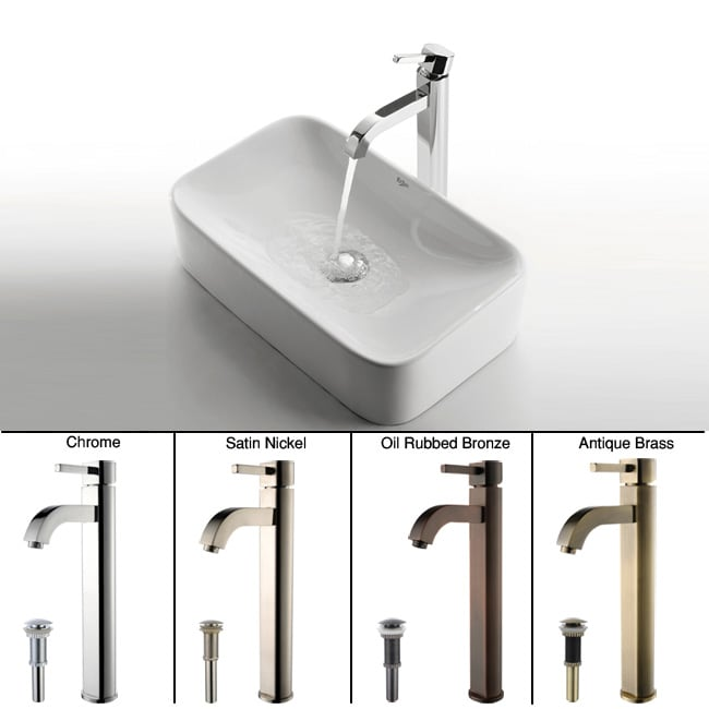 KRAUS Soft Rectangular Ceramic Vessel Sink in White with Ramus Faucet in Chrome - Thumbnail 0