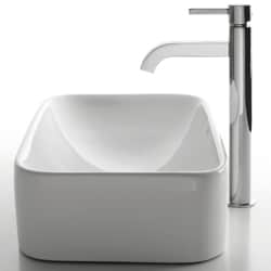 KRAUS Soft Rectangular Ceramic Vessel Sink in White with Ramus Faucet in Chrome - Thumbnail 1
