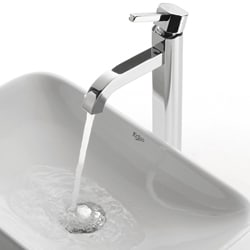 KRAUS Soft Rectangular Ceramic Vessel Sink in White with Ramus Faucet in Chrome - Thumbnail 2