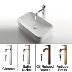 KRAUS Soft Rectangular Ceramic Vessel Sink in White with Ramus Faucet in Chrome
