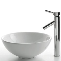 KRAUS Soft Round Ceramic Vessel Sink in White with Sheven Faucet in Satin Nickel - Thumbnail 1