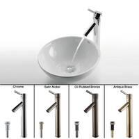 Kraus 3-in-1 Bathroom Set C-KCV-141-1002 White Ceramic Round Vessel Sink, Sheven Single Hole Faucet, Pop Up Drain