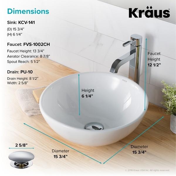 Kraus 3-in-1 Set White Round Ceramic Vessel Sink Ramus Faucet w/ Drain