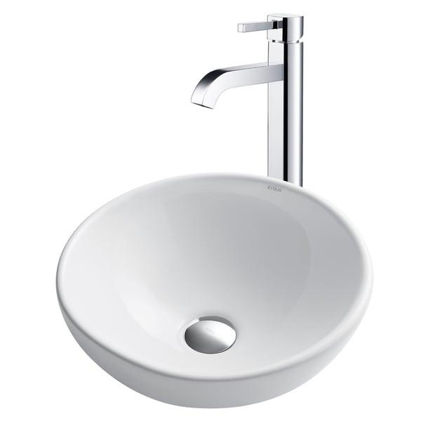 Kraus 3-in-1 Bathroom Set C-KCV-141-1007 White Ceramic Round Vessel Sink, Ramus Single Hole Faucet, Pop Up Drain