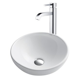 KRAUS Soft Round Ceramic Vessel Sink in White with Ramus Faucet