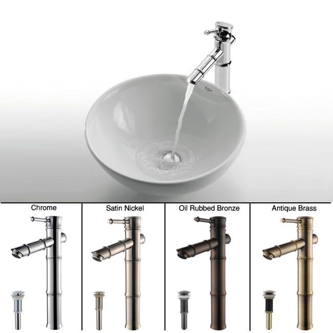 Kraus Round Ceramic Vessel Sink/ Bamboo Bathroom Faucet