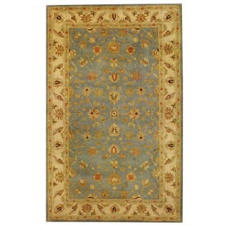 Herat Oriental Indo Hand-tufted Mahal Light Blue/ Ivory Wool Rug (5'3 x 8'2)