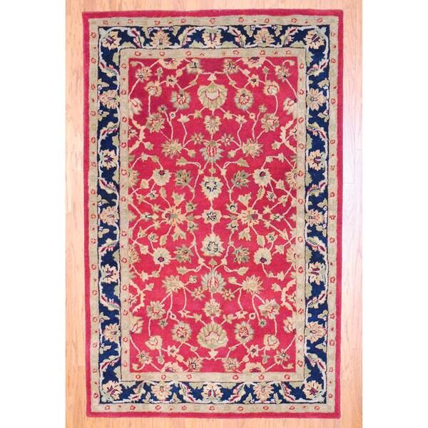 Indian Red/ Beige Wool Rug (5'3 x 8'2)