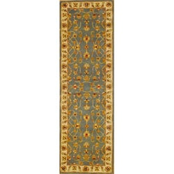 Indian Light Blue/ Ivory Wool Rug (2'6 x 8)
