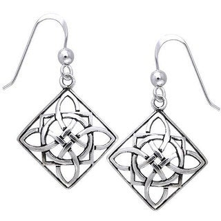 Carolina Glamour Collection Sterling Silver Celtic Power Shield Knot Earrings