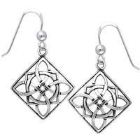Sterling Silver Celtic Power Shield Knot Earrings