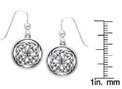 Carolina Glamour Collection Sterling Silver Celtic Unity Knot Woven Earrings - Thumbnail 1