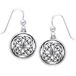 Carolina Glamour Collection Sterling Silver Celtic Unity Knot Woven Earrings - Thumbnail 2