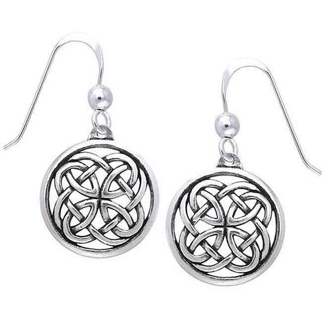Carolina Glamour Collection Sterling Silver Celtic Unity Knot Woven Earrings - Thumbnail 0