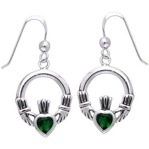 Sterling Silver Celtic Claddagh Created Emerald Dangle Earrings - Green
