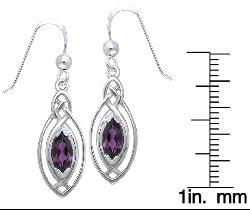 Carolina Glamour Collection Sterling Silver Celtic Oval Amethyst Dangle Earrings