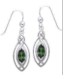 Carolina Glamour Collection Sterling Silver Celtic Created Emerald Dangle Earrings