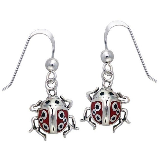 Carolina Glamour Collection Sterling Silver Lucky Ladybug Enamel Earrings