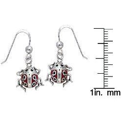 Carolina Glamour Collection Sterling Silver Lucky Ladybug Enamel Earrings - Thumbnail 2