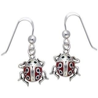 Sterling Silver Lucky Ladybug Enamel Earrings