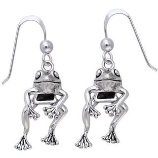 Sterling Silver 'Fabulous Frog' Swinging Earrings