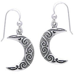 Carolina Glamour Collection Sterling Silver Spiral Moon Celtic Earrings