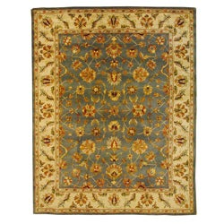 Herat Oriental Indo Hand-tufted Mahal Light Blue/ Ivory Wool Rug (7'3 x 9'3)