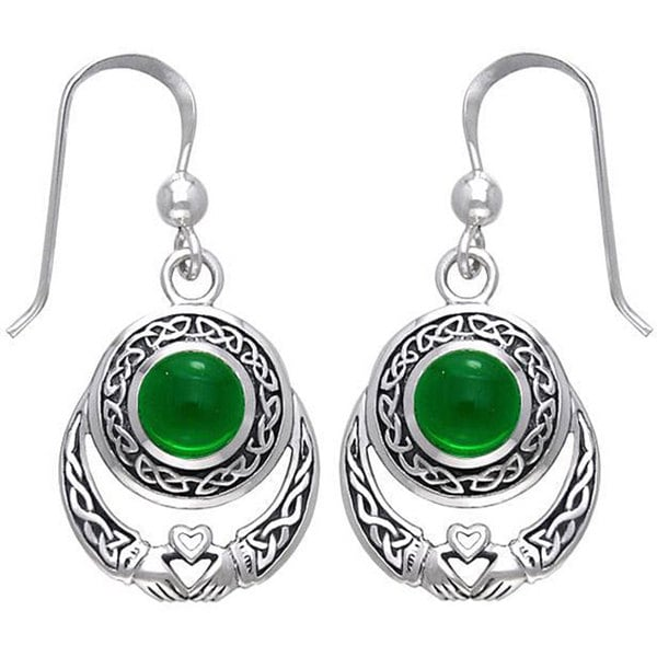 Carolina Glamour Collection Sterling Silver Celtic Claddagh Created Emerald Earrings
