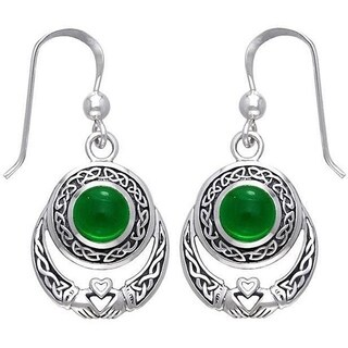 Sterling Silver Celtic Claddagh Created Emerald Earrings