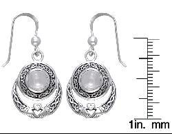 Carolina Glamour Collection Sterling Silver Celtic Claddagh Moonstone Earrings