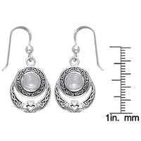 Sterling Silver Celtic Claddagh Moonstone Earrings