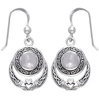 Sterling Silver Celtic Claddagh Moonstone Earrings