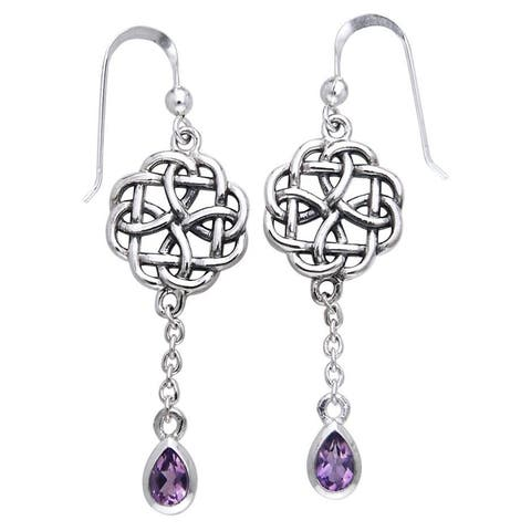 Sterling Silver Celtic Amethyst Dangle Chain Earrings