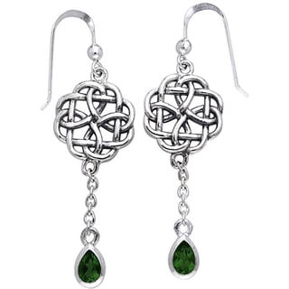 Sterling Silver Celtic Created Emerald Dangle Chain Earrings