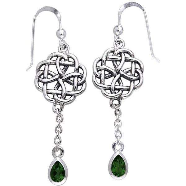 Carolina Glamour Collection Sterling Silver Celtic Created Emerald Dangle Chain Earrings