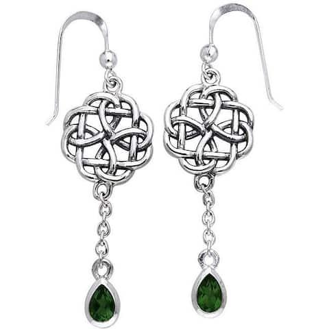 Sterling Silver Celtic Created Emerald Dangle Chain Earrings
