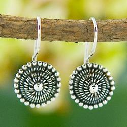 Sterling Silver 'Beaded' Circle Earrings (Indonesia) - Thumbnail 2