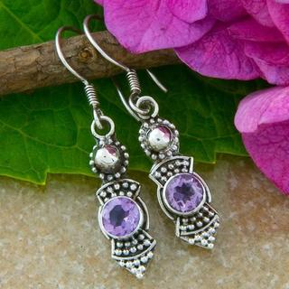 Handmade Sterling Silver Amethyst Earrings (Indonesia)