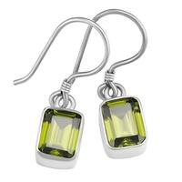 Handmade Sterling Silver Emerald Peridot Dangle Earrings (Indonesia)