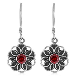 Handmade Sterling Silver Garnet Flower Earrings (Indonesia)